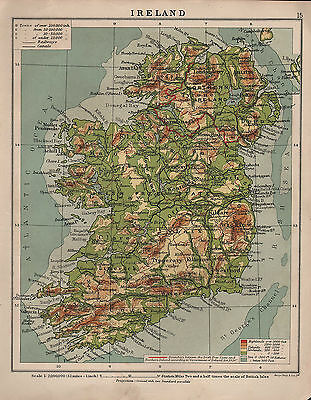 1938 Map ~ Ireland Physical ~ Land Heights