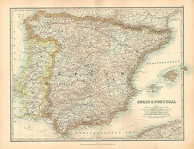 1911 Large Victorian Map ~ Spain & Portugal ~ Balearic Islands Majorca