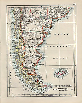 1909 Victorian Map ~ Southern South America ~ Argentina Falkland  Islands