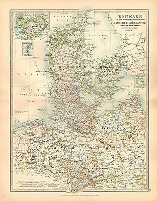 1911 LARGE VICTORIAN MAP ~ DENMARK WITH SCHLESWIG-HOLSTEIN HANOVER BRUNSWICK etc