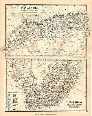 1911 Large Victorian Map ~ North West Africa Algeria Morocco Tunis South Africa