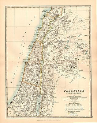 1911 LARGE VICTORIAN Map ~ Palestine (Holy Land) Samaria Decapolis on