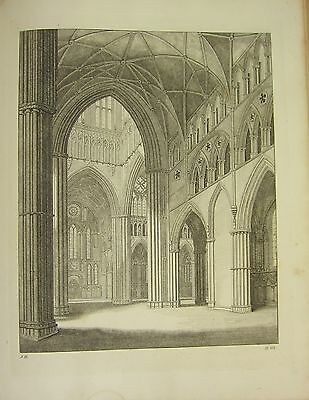 Art Art Prints 1795 Print Gothic Ornament York Minster ~ Two Heads Over A Stall Chapter-house