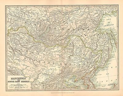 1911 Large Victorian Map ~ Manchuria & East Siberia ~ Mongolia Chinese Empire