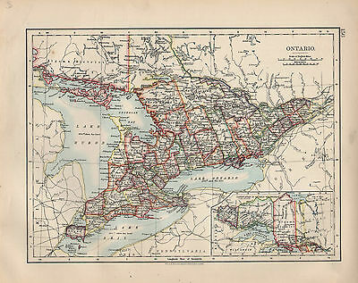 1897 Victorian Map ~ Dominion Of Canada Ontario ~
