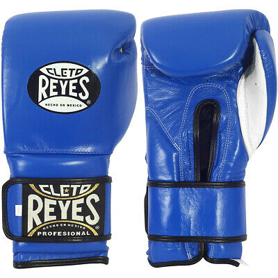 Cleto Reyes Hook and Loop Leather Training Boxing Gloves - Blue