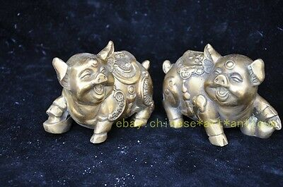 Chinese Fengshui Copper Zodiac Year Pig Rich Yuanbao Money Gourd Statue Pair