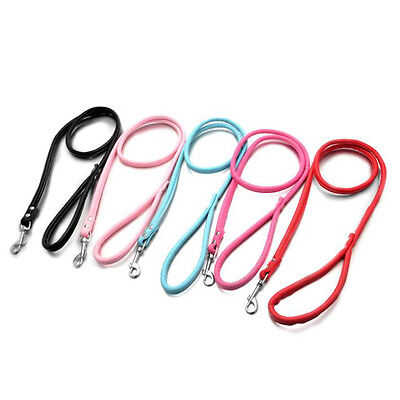 Pet Small Dog Puppy Cat Collar Leash Leather Long Lead Rope Strap Harness Belt