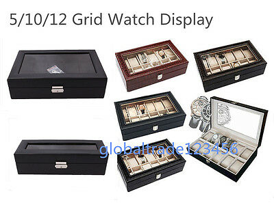 5/10/12 Watch Boxes Cases Showcase Display Storage Jewelry Case Box Faux Leather