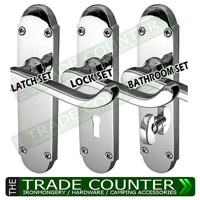 Epsom Door Handles – Polished Chrome – Internal - Lock, Latch or Bathroom Set