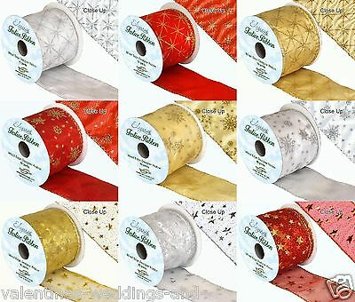 Christmas Ribbon Roll Snowflake Star Wired Glitter Gold Silver Red Gift Bow 68mm