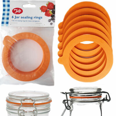 Tala 6 Jar Rings Sealing Rubber O-Ring Seal Jam Food Preserve Orange Colour Pack