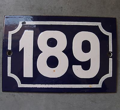 Antique French Enamel Steel Door House Street Gate Number Sign Plaque 189