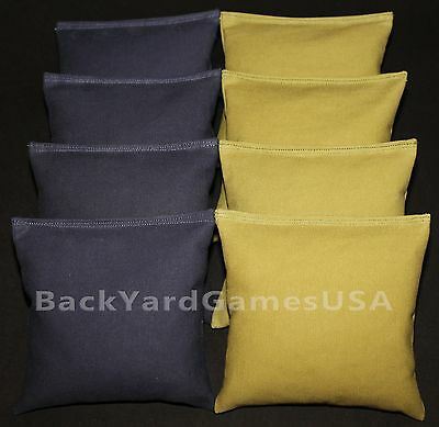 CORNHOLE BEAN BAGS Navy & Gold  All Weather Bags