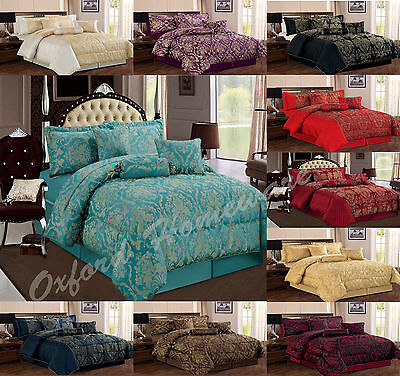 Jacquard 7 Piece Comforter Set Quilted Bedspread Double & King Size Bedding Sets