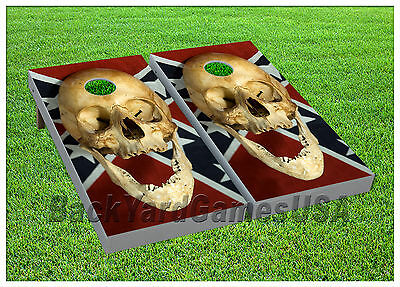 Old Skull CORNHOLE BEANBAG TOSS GAME w Bags Game Boards Set 1072