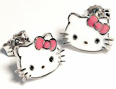 Hello Kitty Pink Bow Collection Earrings, Sterling Silver