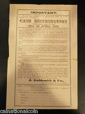 Vintage J. Goldsmith & Co. Cash Distribution advertisement