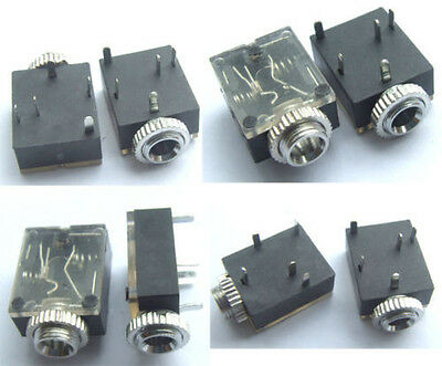 """10PCS 1/8"""" 3.5mm Stereo Socket Jack Headphones With nut PCB Panel Mount Chassis"""
