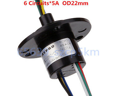 6 Wires 5A 22mm Dia, 500RPM Collector Ring Wind Turbine Slip Ring