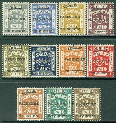 PALESTINE : 1921. Stanley Gibbons #47-57 Fresh set. Very Fine, Mint OGH Cat £500