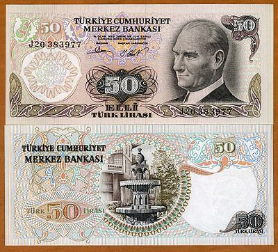 Turkey, 50 Lira, L. 1970 (1976), P-188, UNC