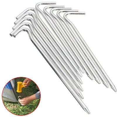 10Pcs Alloy Metal Tent Peg Stake Outdoor Camping Necessary Trip Survival Sliver