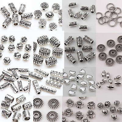 Vintage 50/100Pcs Silver Plated Loose Spacer Beads  Charms Jewerly Findings DIY