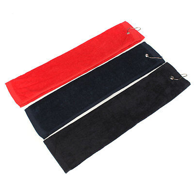Touch Golf  Tri-Fold Towel With Carabiner Clip Sports Hiking Cotton 40x60cm