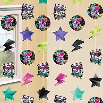 6 Totally 80's Disco Punk Birthday Party Hanging Cutout Strings Decorations