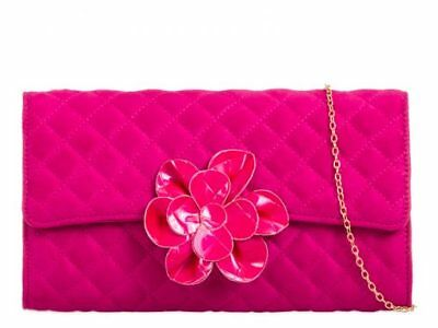 New Nude Fuschia Pink Blue Faux Patent Leather & Suede Evening Day Clutch Bag