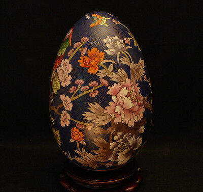 """11 1/2"""" H Vintage Chinese Cloisonne Egg With Rosewood Stand"""