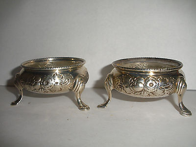 Antique English Sterling Silver Robert Harper Footed Salt Cellars repousse