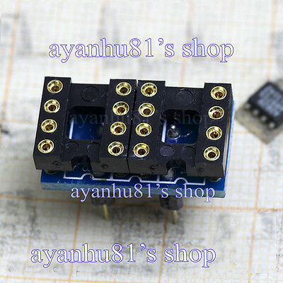 2x  Dual Single DIP8 to Single DIP8 OP-Amp Opamp Adaptor Gold-Plated Converter