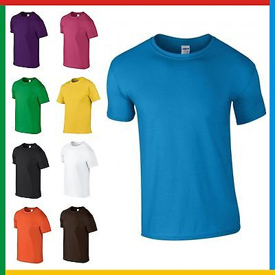 MENS 100% RINGSPUN COTTON T-SHIRT GILDAN Soft Feel PLAIN T SHIRT: Small - 3XL
