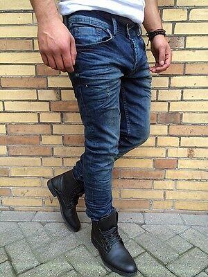 BE THE TREND BLUE VINTAGE USED LOOK JEANS STONEDWASH By DENIM REPUBLIC