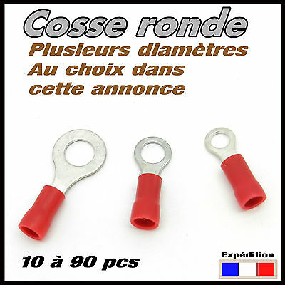 Cosse ronde rouge auto disponible de 10 à 90 pcs