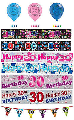 30th Birthday Boy Girl Pink Blue Party Banners Balloons Bunting Decorations