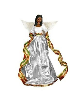 TIFFANY in SILVER African American Angel Christmas Tree Topper, United Treasures