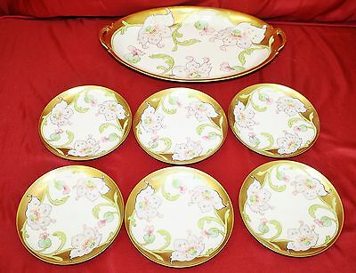 Beautiful Antique Hand Painted 7 Pc. Limoges Dessert Gold Set - Signed T. Luc