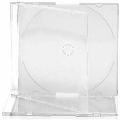 50 X CD Slimline Jewel 5.2mm Cases for 1 Disc With Clear Tray - Pack of 50