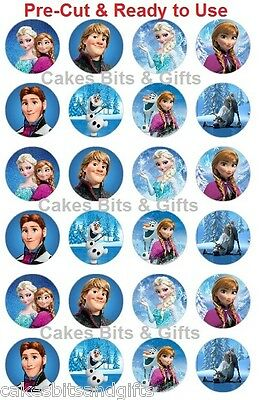 24 x Mixed FROZEN Edible Wafer Paper Cupcake Cake Toppers, PRE-CUT Ready to Use