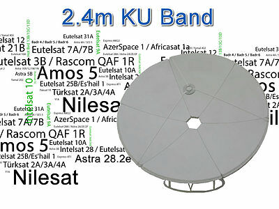 2.4m 240cm KU Band Satellite Dish UK Europe Nilesat Arabsat Spain Bulsat