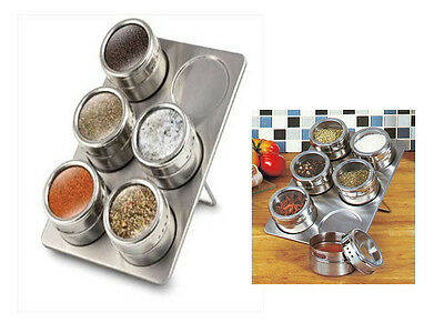 6 Pc MAGNETIC HERB SPICE RACK TIN JAR STORAGE W/ HOLDER STAND STAINLESS STEEL