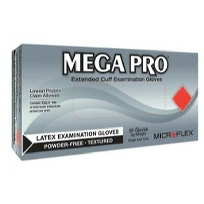 Microflex L851 MEGA PRO Extended Cuff Latex Exam Gloves, Box of 50, Size Small