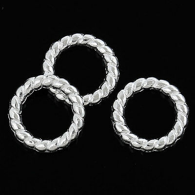 ❤ 50 x Silver Plated CLOSED Soldered TWIST Jump Rings 10mm Jewellery Making ❤