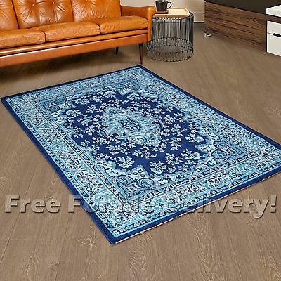 SIA MEDALLION DESIGN BLUE TRADITIONAL FLOOR RUG (XXL) 300x400cm **FREE DELIVERY*
