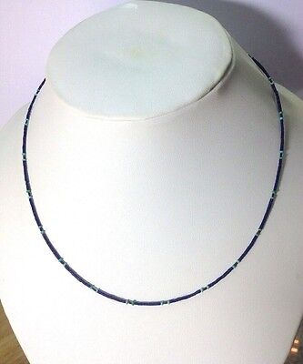 Afghan Natural Antique Tiny Lapis Lazuli, Turquoise Seed Beads Necklace Silver