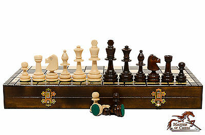 """Great """"LARGE OLYMPIC"""" Wooden Hand Crafted TOURNAMENT Chess Set! 42x42 cm."""