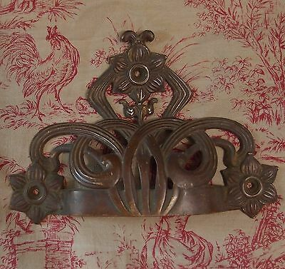 ANTIQUE FRENCH BRONZE ART NOUVEAU DOOR DRAWER PULL HANDLE Hardware LARGE Signed